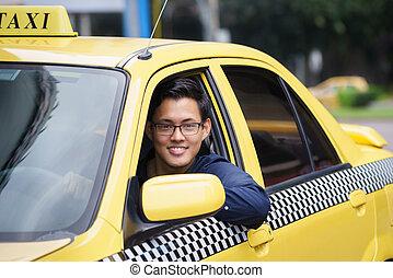retrato, taxi, conductor, sonrisa, coche, Manejar, feliz