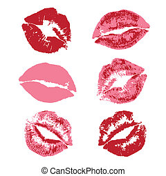 Lipstick kiss print - red lipstick kiss print pattern