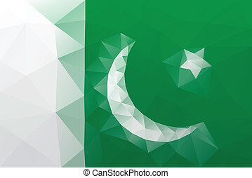 Pakistani flag - triangular polygonal vector pattern