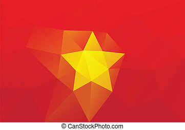 Vietnam flag - triangular polygonal vector pattern