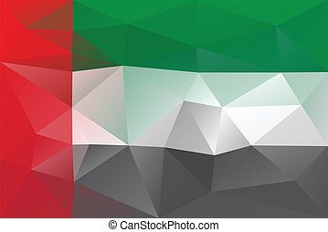 United arab emirates flag- triangular polygonal pattern