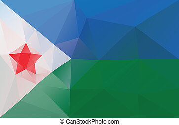 Djibouti flag - triangular polygonal vector pattern