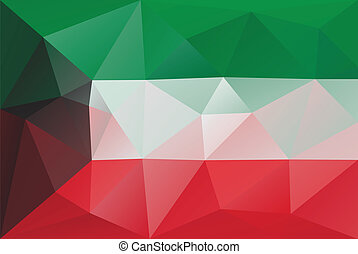 Kuwait flag - triangular polygonal vector pattern