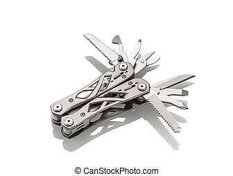 stanless steel multitool isolated