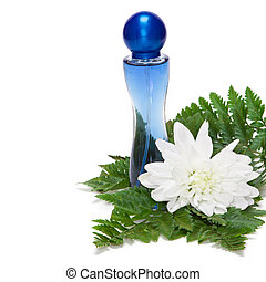 Floral perfume - Perfume bottle with white flower and fern...