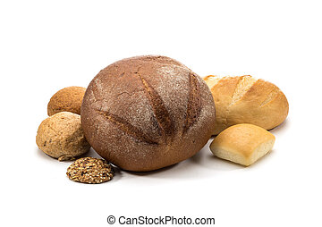 assortment of baked bread isolated on white background
