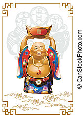 Happy Buddha Carrying Gold Money. The figure appears...