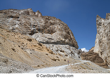 road in ravine of Ladakh mountains