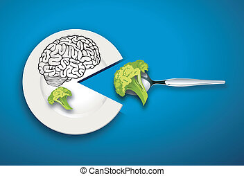 Brain food - A vector illustration of healthy food Eat for...