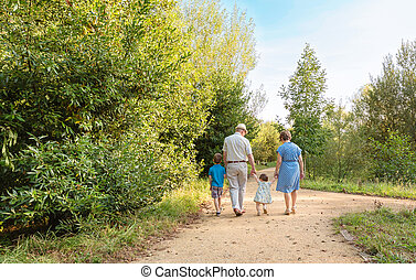 Grandparents and grandchildren walking outdoors - Back view...
