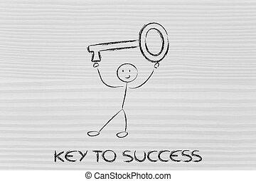 man holding oversized key, metaphor of key to success -...