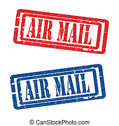 Air mail grungy stamp - grunge rubber air mail stamps vector...
