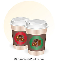 Coffee cups to go - Vector illustration of a takeaway coffee...