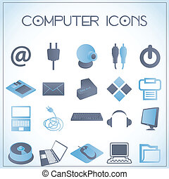 Computer icons - Vector illustration of computer icons on...
