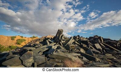 Sliding camera Time Lapse of Abandoned slate mine waste...