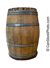 Wooden Barrel Barrel made of wood isolated on a white...