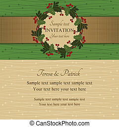 Christmas invitation, green and beige