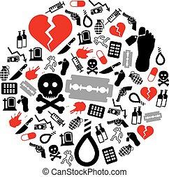 suicidio, iconos, en, círculo,