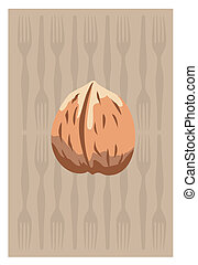 walnut - Vector of walnut