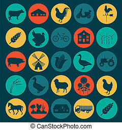 Set agriculture infographics - Set agriculture, animal...