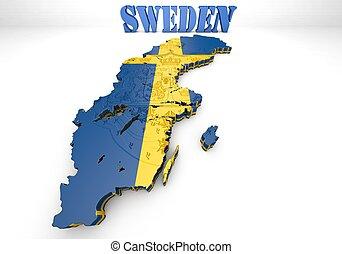 Stock Illustration Of Sweden Map D Shape Shape D Of Swedish - Sweden map 3d