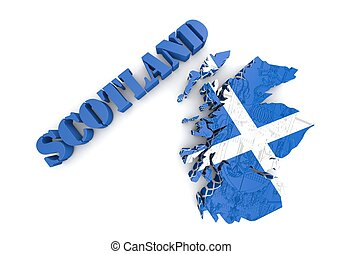 Scotland map flag 3d illustration