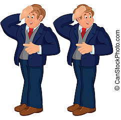 Happy cartoon man standing in blue suit touching forehead
