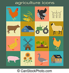 Set agriculture, animal husbandry icons Vector illustration