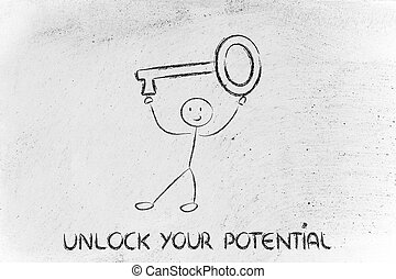 man holding oversized key, unlock your potential - unlock...