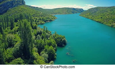 Roski Slap waterfall area on river Krka - Copter aerial view...