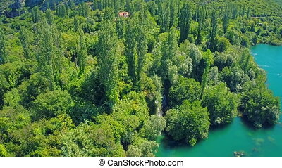 Roski Slap waterfall on river Krka, aerial shot - Copter...