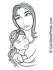 Little girl hugging her mother - Vector of Little girl...