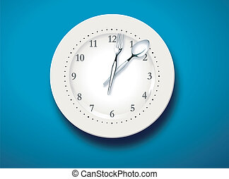 Time for lunch - Vector illustration of a set table and time...