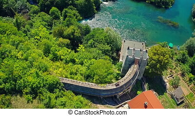 Roski Slap Hydroelectric Power Plant, aerial shot - Copter...