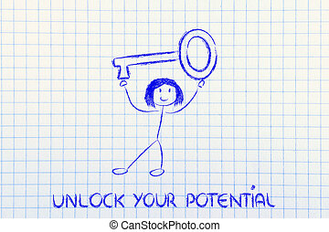 girl holding oversized key, unlock your potential - unlock...