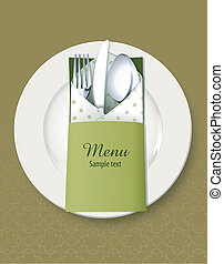 Kitchen utensils. Menu cover - Vector of Kitchen utensils...