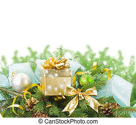fir tree and christmas decorations with gift box on white...