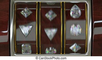 Spinning luxury casino slot machine with diamonds