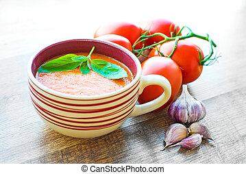 tomate, sopa, tigela,  gaspacho