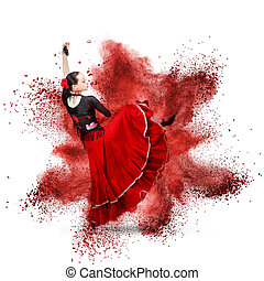 young woman dancing flamenco against explosion - young woman...