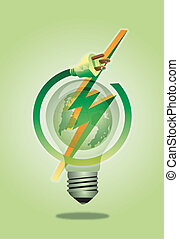 Save energy - Vector of Earth in bulb. Save Earth save...