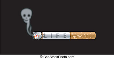Anti Smoking - Vector of Human skull smoke and cigarette on...