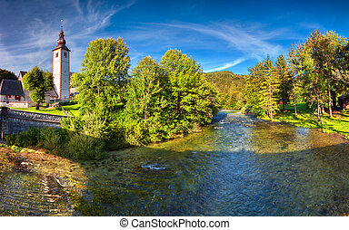 Church of St John the Baptist, Bohinj Lake, Slovenia -...