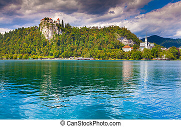 Beautiful scene of Bled Lake, Bledsky lake Juliansky Alpine...