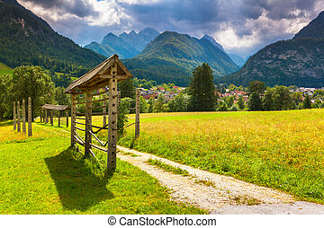 Triglav mountain range, view from the Gozd Martuljek...