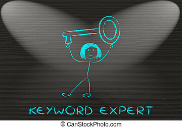 girl holding oversized key, keyword expert - SEO and...