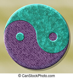 Yin-yang symbol with seamless generated texture background