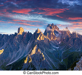 Colorful summer sunrise in Italy Alps, Tre Cime Di Lavaredo,...