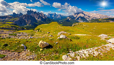 Great view of the Cadini di Misurina range, Cristallo and...