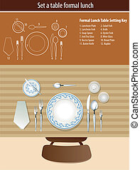 Set a table formal lunch - Vector of set a table formal...